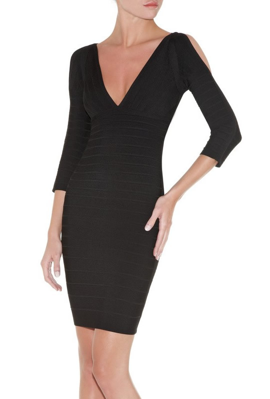 Herve Leger Black Deep V Neck Sleeve Bandage Dress