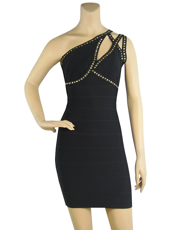 Herve Leger Black Gold Beading Backless Bandage Dress