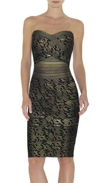 Herve Leger Black Strapless Jacquard Bandage Dress