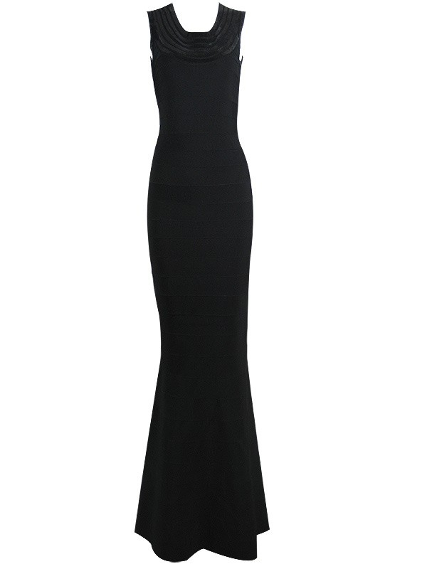 Herve Leger Black U Neckline Sleeveless Sequin Gown