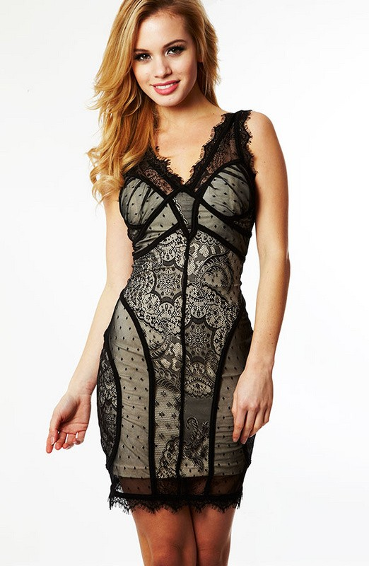 Herve Leger Black V Neck Art Lace Dress