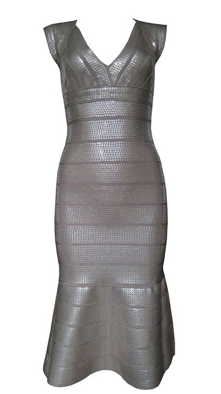 Herve Leger Blue Grey V Neck Sequin  Bandage Dress