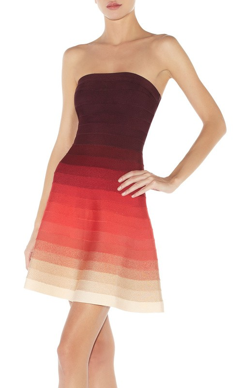 Herve Leger Brown And Pink Gradient Bandage Dress