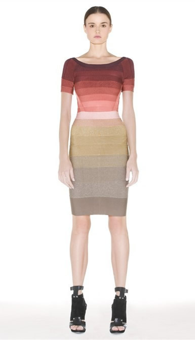 Herve Leger Brown Gradient Backless Dress