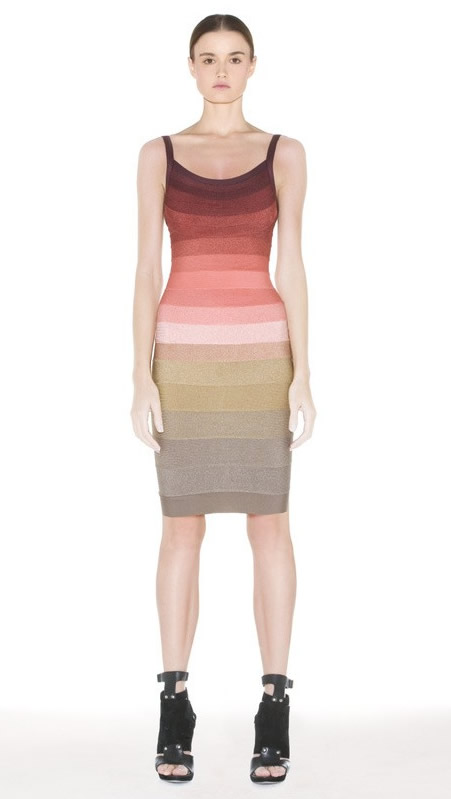 Herve Leger Brown Gradient Gallus Backless Dress