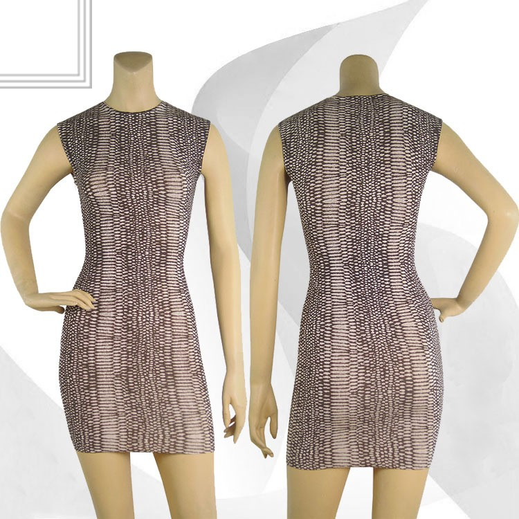 Herve Leger Brown Lace Sleeveless Bandage Dress