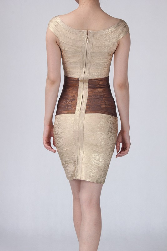 Herve Leger Gold And Brown Foil Dress