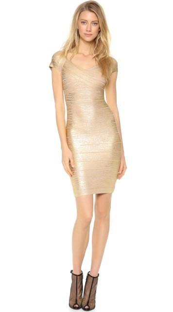 3ca8ab1129e4a Herve Leger Gold Cap Sleeve V Neck Bandage Dress