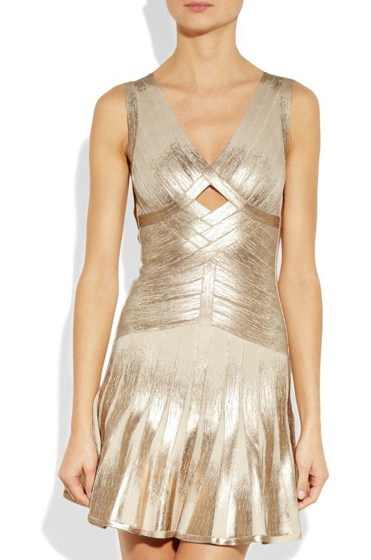 Herve Leger Gold V Neck Flared A Line Dress