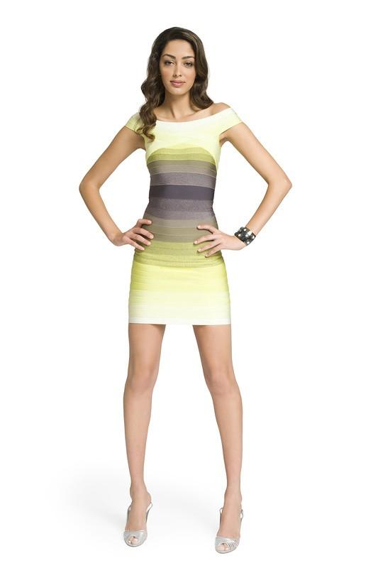 Yellow green bandage dress