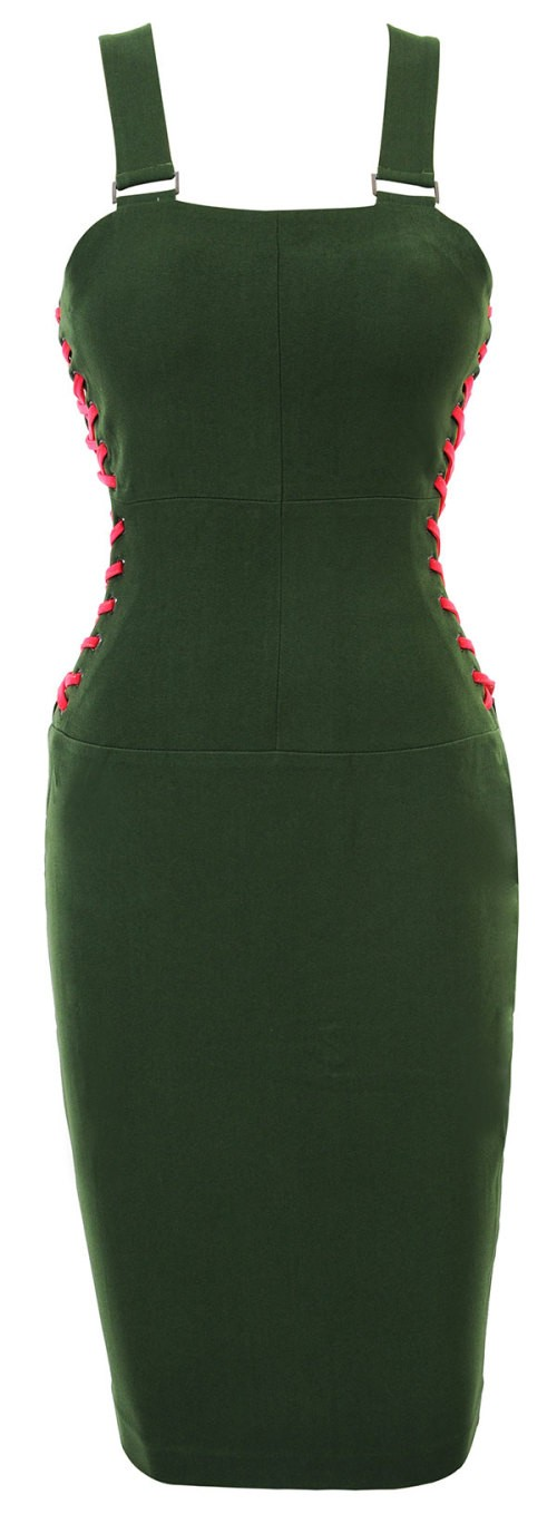 Herve Leger Green Pencil Slip Bandage Dress