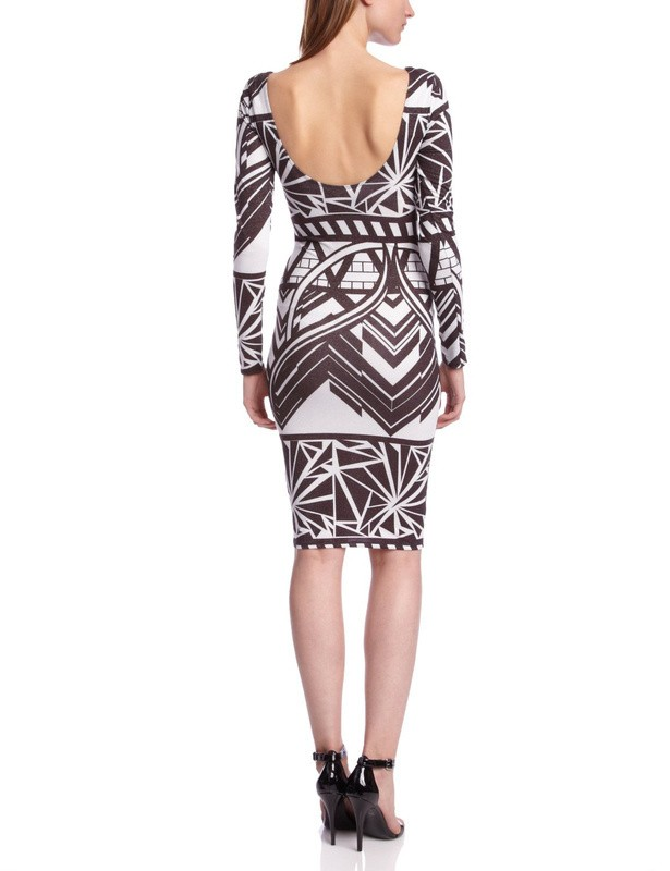 Herve Leger Grey Geometric Jacquard Long Sleeve Halter Dress