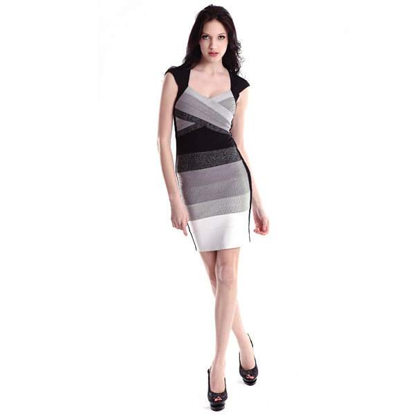 Herve Leger Grey Gradient V Neck Bandage Dress