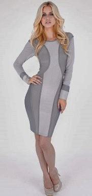 Herve Leger Grey Long Sleeve Mesh Translucent Bandage Dress