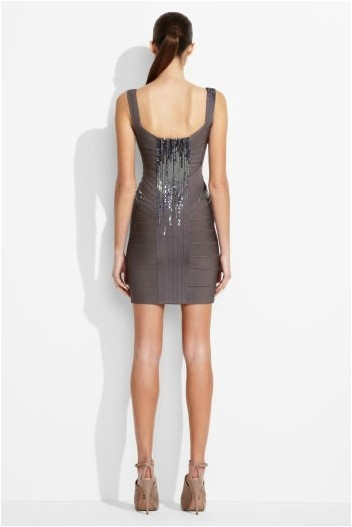 Herve Leger Grey Sequin V Neck Bandage Dress