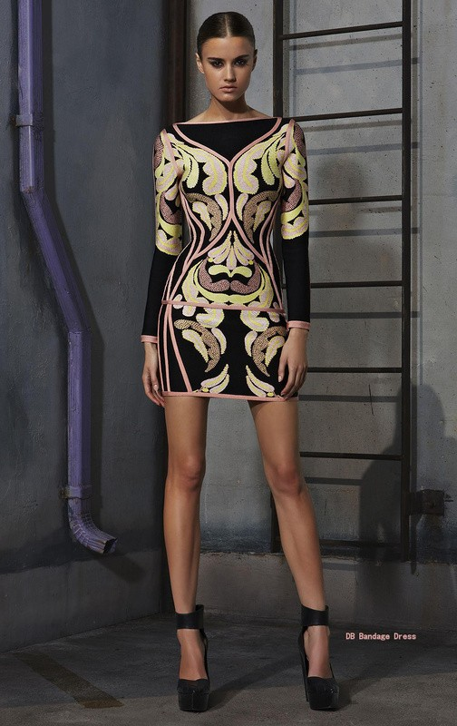 Herve Leger Long Sleeve Leaf Jacquard Bandage Dress
