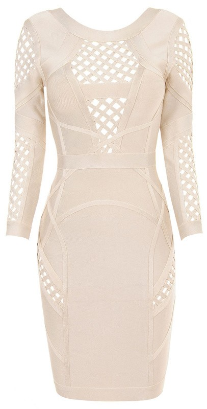 Herve Leger Nude Mid Sleeve Hollow Backless Bandage Dress