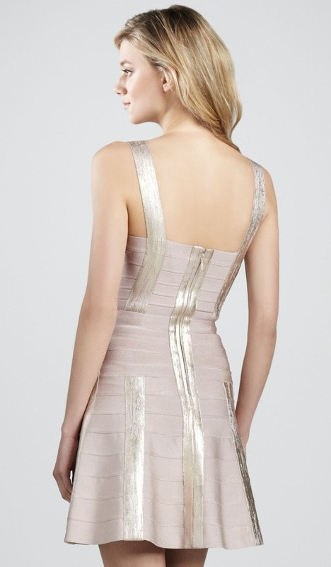 Herve Leger Nude Golden Bandage A Line Dress