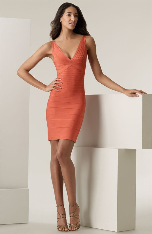 Herve Leger Orange Cross V Neck Bandage Dress