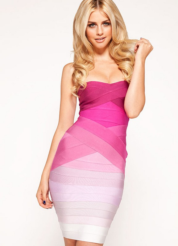 Herve Leger Pink  Gradient Strapless Bandage Dress