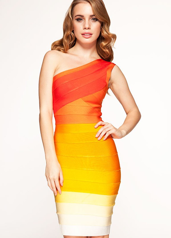 Herve Leger Pink And Orange Colorblock Bandage Dress