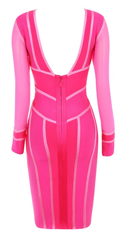 Herve Leger Pink Colorblock Long Sleeve Bandage Dress
