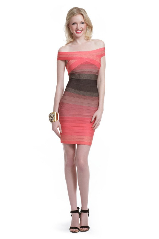 Herve Leger Pink Gradient Off Shoulder Halter Bandage Dress
