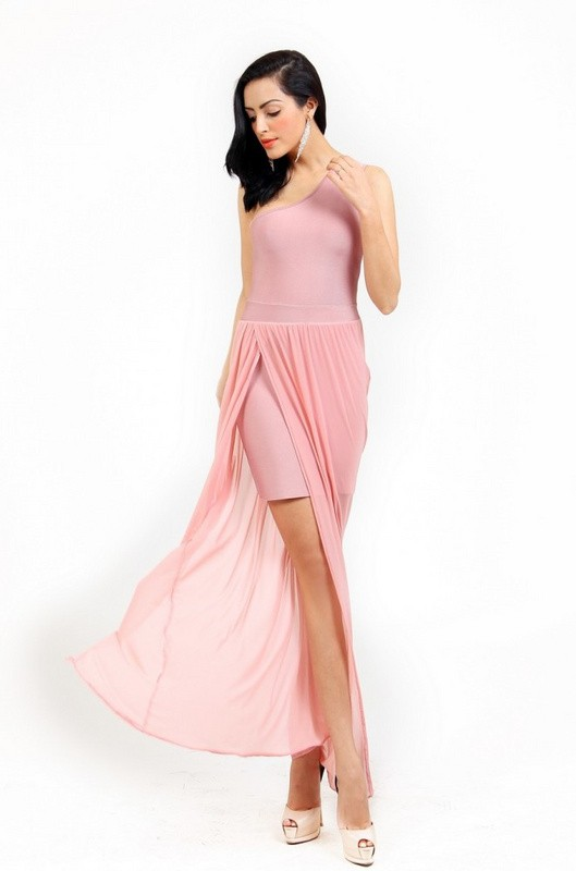 Herve Leger Pink One Shoulder Translucent Gown