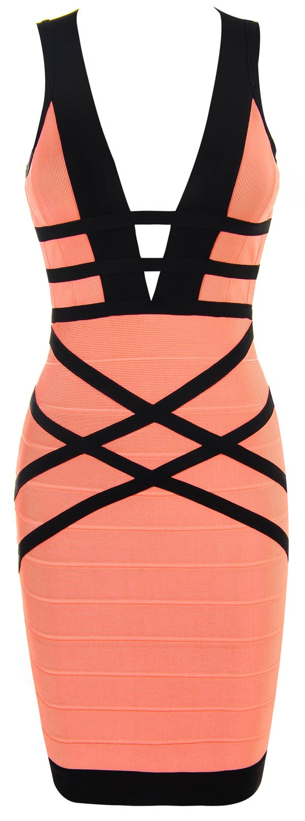 Herve Leger Pink V Neck Backless Woven Dress