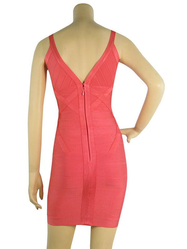 Herve Leger Pink V Neck Halter Dress