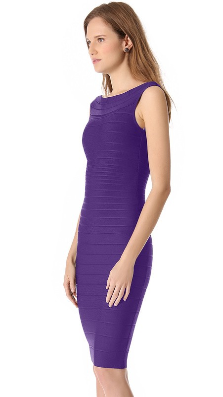 Herve Leger Purple Sleeveless Bandage Dress