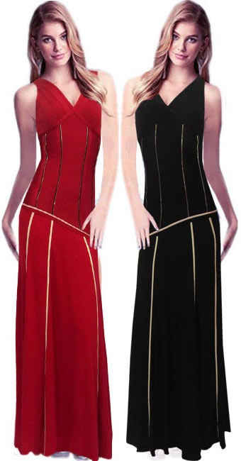 Herve Leger Red And Black V Neck Gown