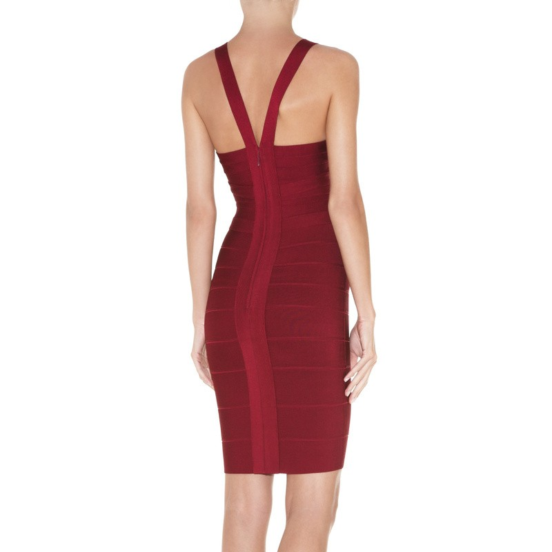 Herve Leger Red Keyhole Neck Dress