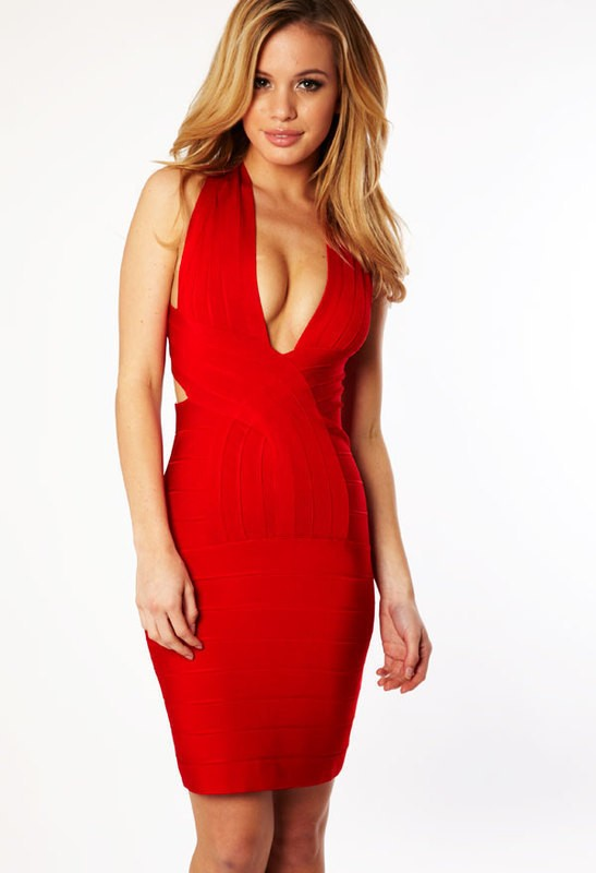 Herve Leger Red V Neck Cross Dress