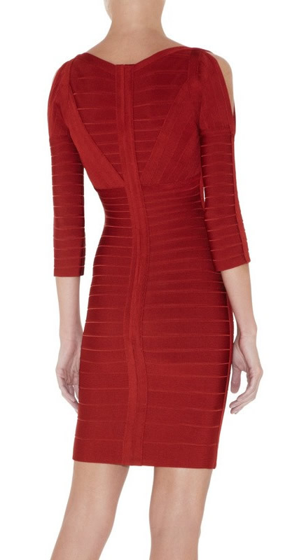 Herve Leger Red V Neck Mid Sleeve Bandage Dress