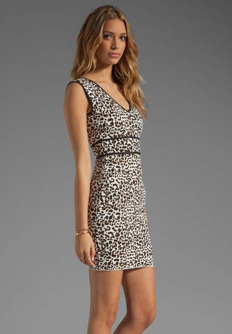 Herve Leger V Neck Leopard Jacquard Bandage Dress
