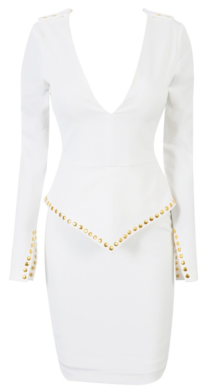 Herve Leger White V Neck Long Sleeve Bandage Dress