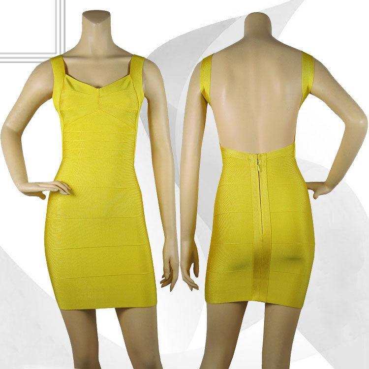 Herve Leger Yellow New Fashion Style V Neck Backless Bandage Dress