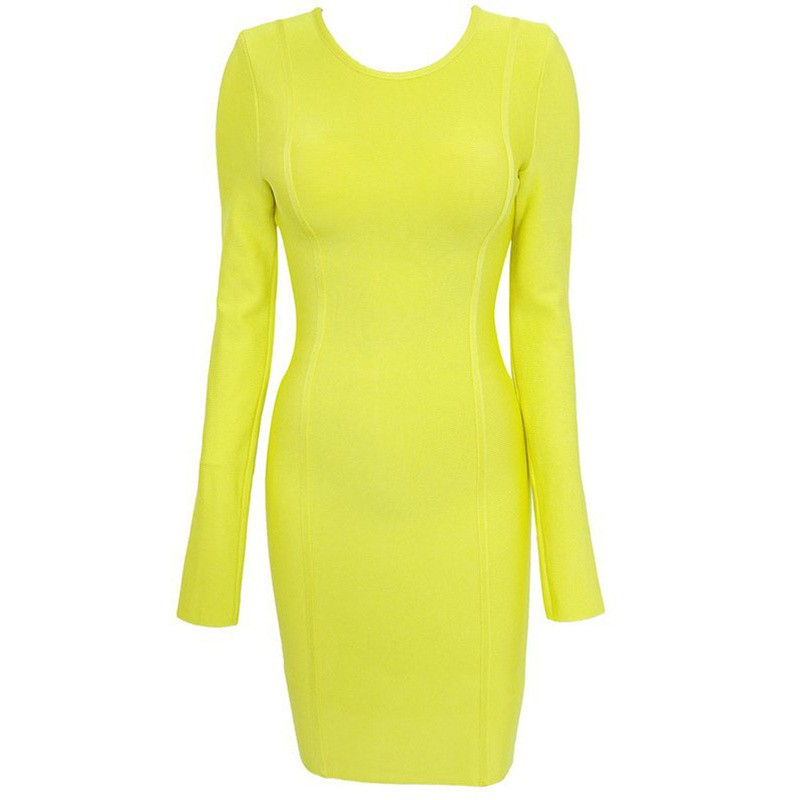Jennifer Lopez Dress Herve Leger Yellow Long Sleeve Dress