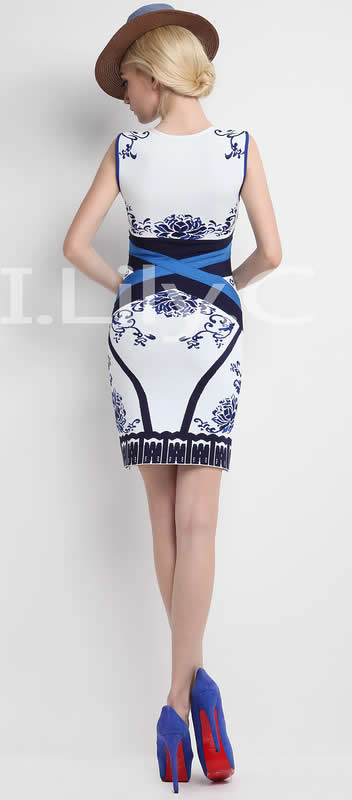 Herve Leger 2015 Blue And White V Neck Art Printed Sleeveless Bandage Dress