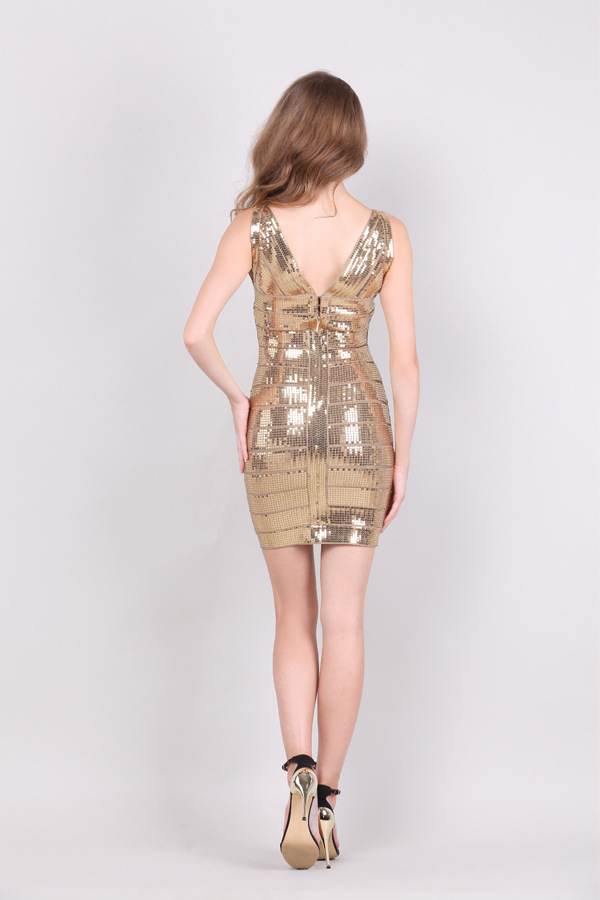 Herve Leger 2015 Gold V NECK SEQUIN DRESS