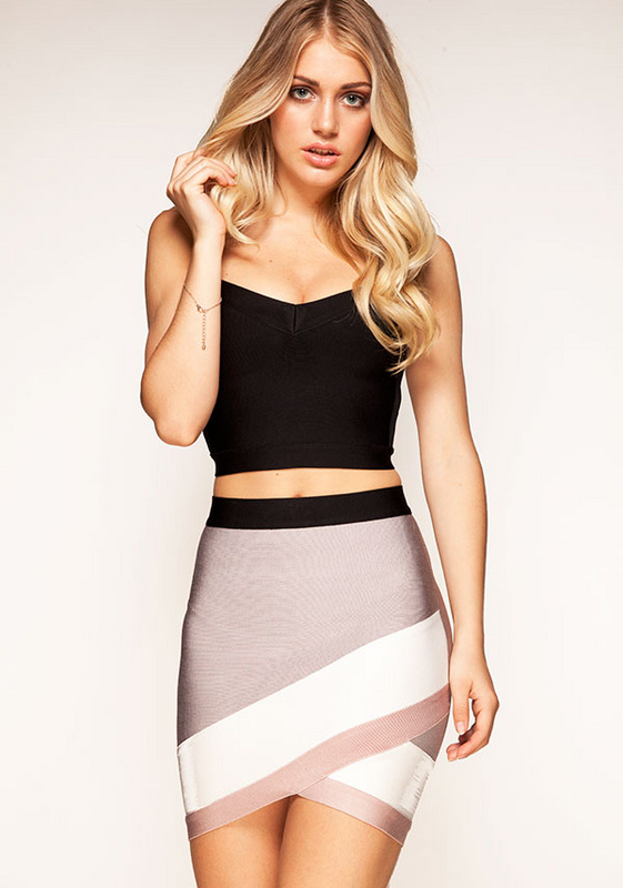 Herve Leger 2015 Grey Multi Color Skirt