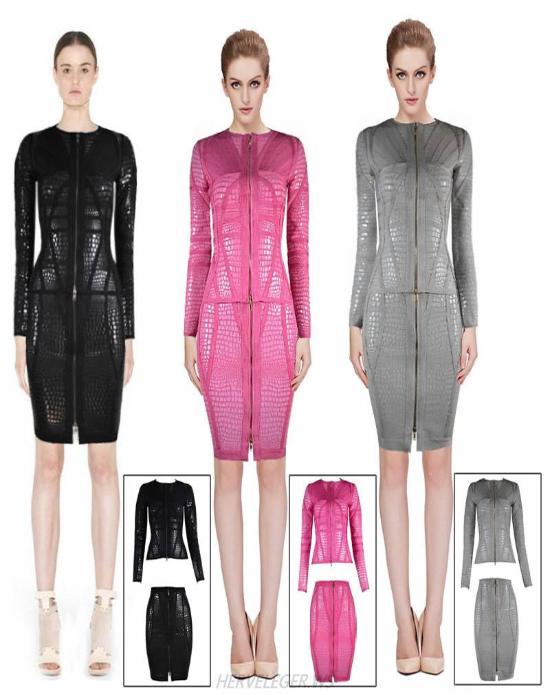 Herve Leger 2015 Multicolor Two Pieces Long Sleeve Bandage Dress