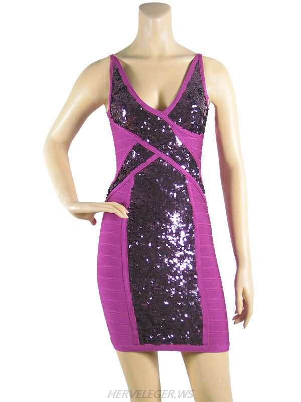 Herve Leger 2015 Purple V Neck Splice Sequins Sleeveless Bandage Dress