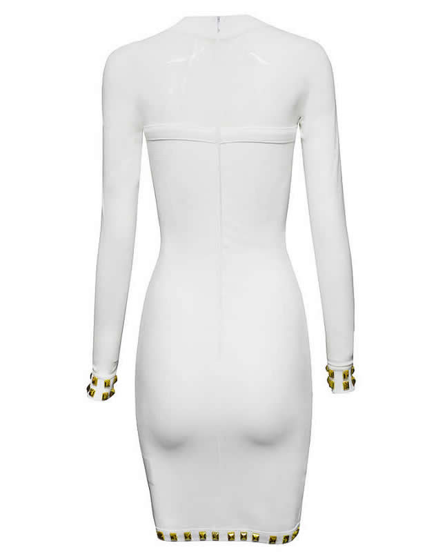 Herve Leger 2015 Spring White Beaded Long Translucent Sleeved Dress