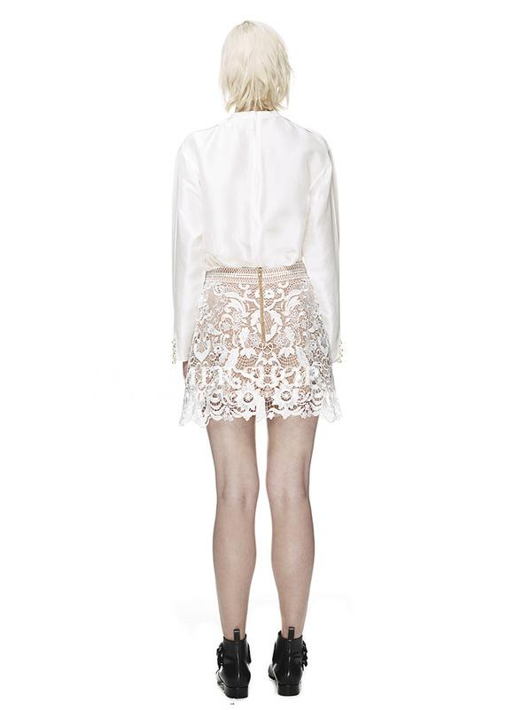 Herve Leger 2015 White Lace Mini Skirt