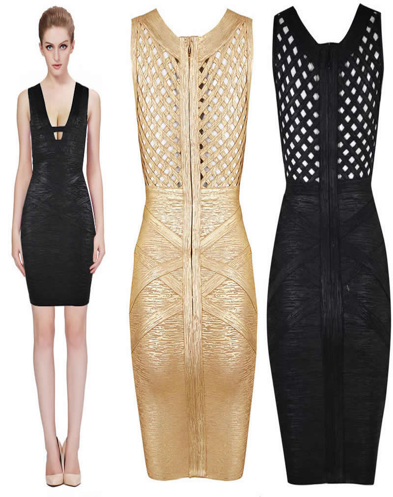 Herve Leger Black And Gold Multicolor V Neck Cutout Bandage Dress