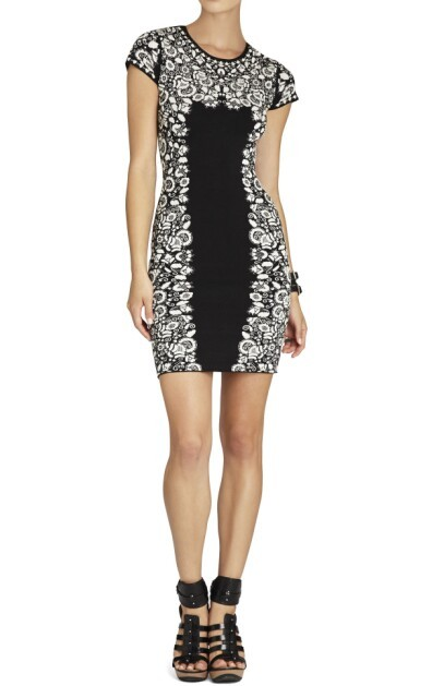 Herve Leger Black And White Floral Round Neck Cap Sleeve Dress