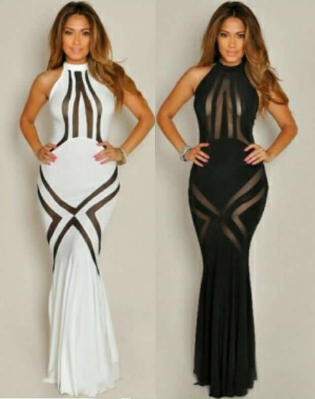 Herve Leger Black And White Multicolor Sleeveless Hollow Transparent Fishtail Mopping Dress