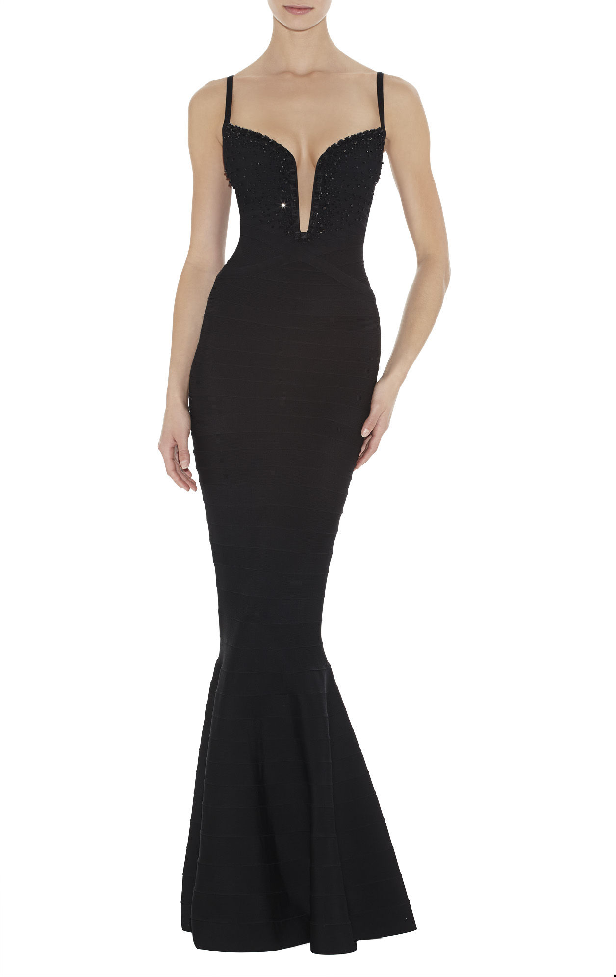 Herve Leger Black Beaded V Neck Halter Gown